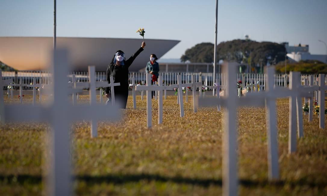 Manifestantes instalaram mil cruzes no gramado da Esplanada dos Ministérios, neste domingo, em memória às vítimas do novo coronavírus no país Foto: Pablo Jacob / Agência O Globo