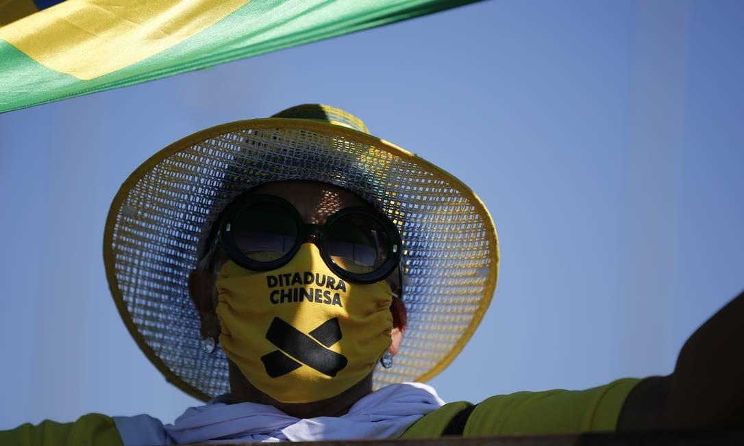 Manifestante pró-Bolsonaro durante ato neste domingo, em Brasília Foto: Pablo Jacob / Pablo Jacob