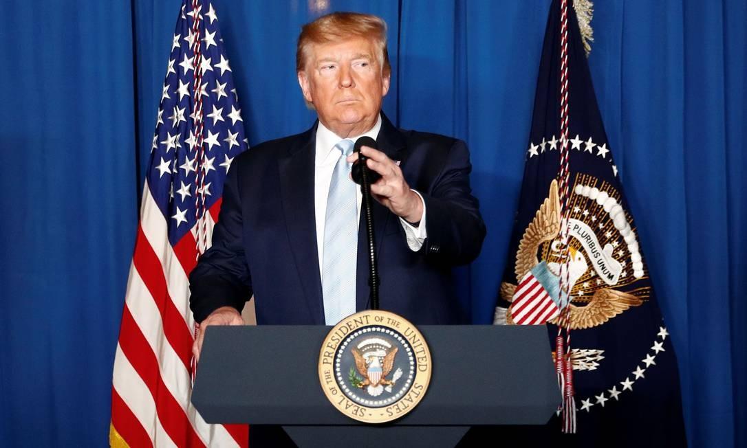 O presidente dos Estados Unidos, Donald Trump, em West Palm Beach, Flórida, durante discurso, em 3 de janeiro, após o ataque que matou o general iraniano Qassem Soleimani, em Bagdá Foto: TOM BRENNER / Reuters