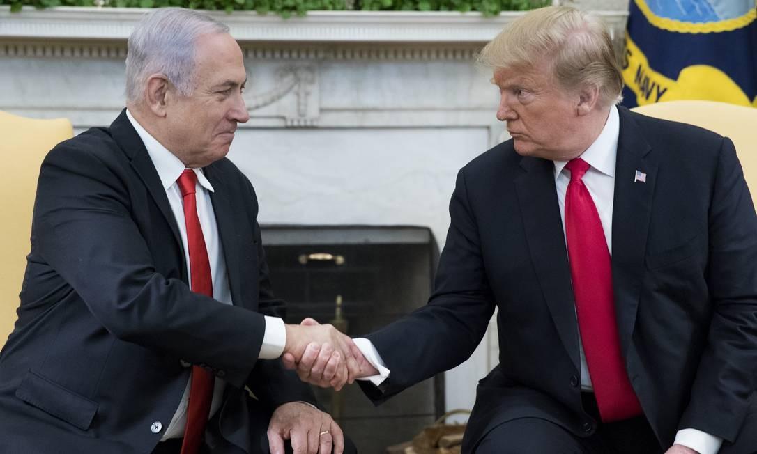 O presidente dos Estados Unidos Donald Trump e o primeiro-ministro de Israel Benjamin Netanyahu Foto: Pool / Getty Images