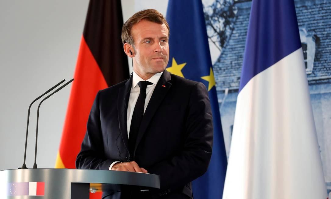 O presidente da França, Emmanuel Macron, voltou a se posicionar contra a ratificação do tratado de livre comércio entre Mercosul e União Europeia Foto: POOL / REUTERS