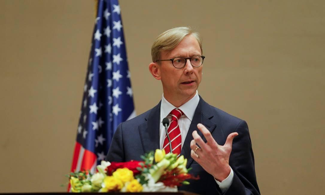 """""""Peça de propaganda"""": Brian Hook, representante especial dos EUA para o Irã, debocha da ordem de prisão durante entrevista coletiva no Bahrein Foto: HAMAD I MOHAMMED / REUTERS/20-06-2020"""