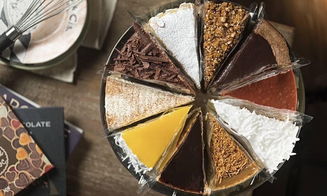 Torta & Cia. A torta mix pode ter até dez fatias de sabores diferentes Foto: RODRIGO AZEVEDO FOTOGRAFIA / Divulgação