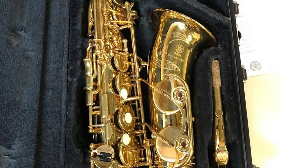 O saxofone recuperado pelos policiais Foto: Polícia Civil / Divulgação