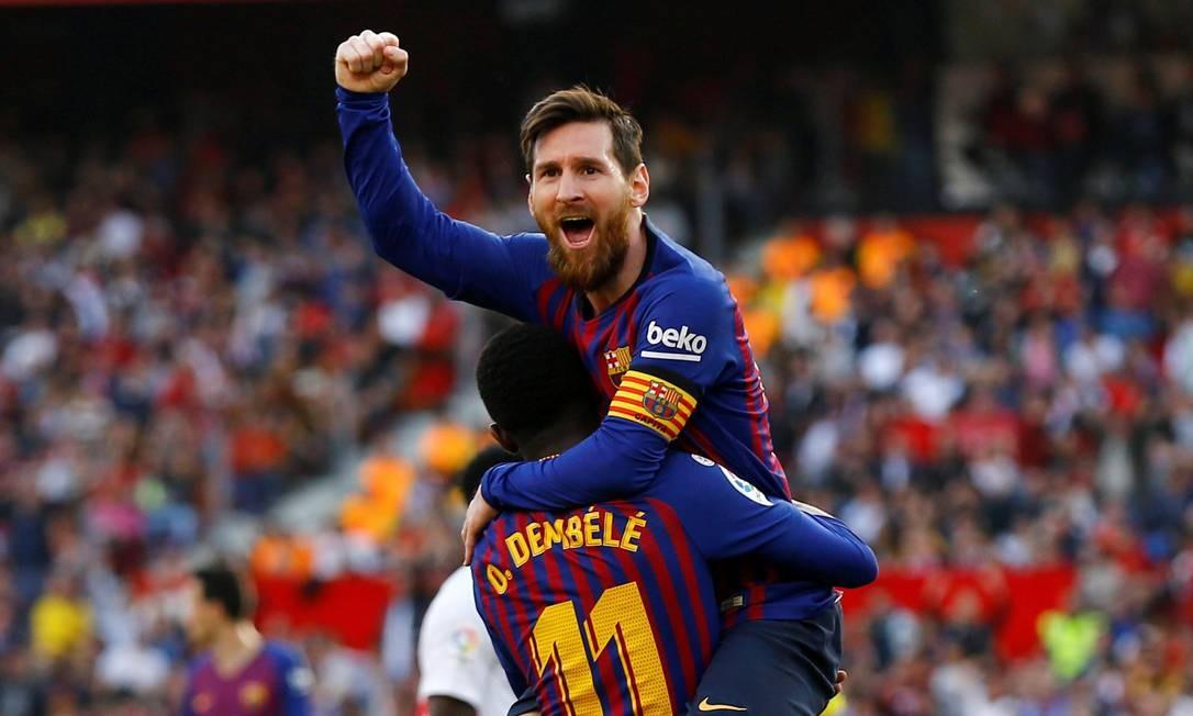 Messi comemora gol sobre o Sevilha durante partida pela Liga Santander, em fevereiro de 2019. Sevilha, Atlético de Madrid e Valencia são as três equipes contra as quais o craque argentino mais marcou gols Foto: MARCELO DEL POZO / Reuters