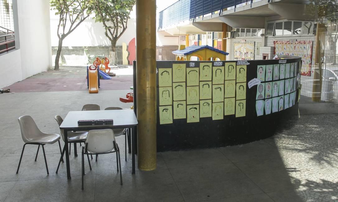 O pátio de uma escola pública no Andaraí: aulas na rede municipal devem recomeçar em agosto Foto: Gabriel de Paiva em 16-3-2020 / Agência O Globo