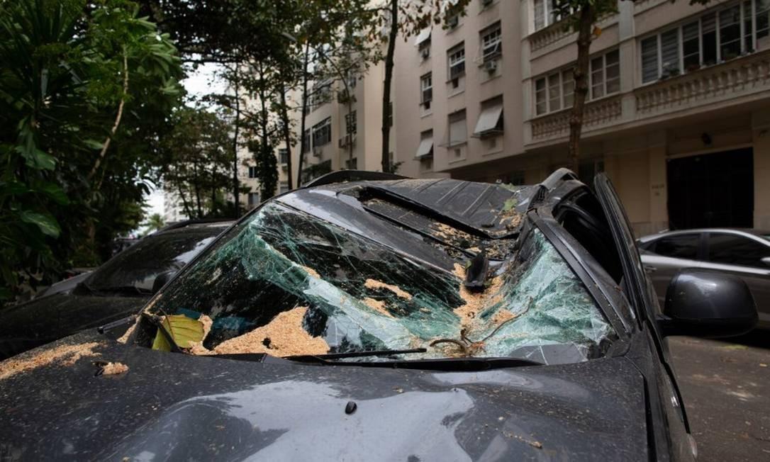 Carro fica destruído após queda de árvore em Ipanema Foto: Márcia Foletto / Agência O Globo