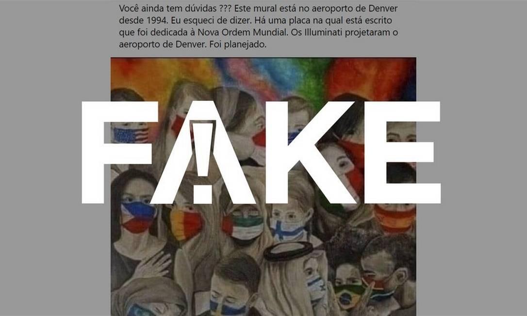 É #FAKE que pintura previu a pandemia de Covid-19 e está exposta desde 1994 em aeroporto dos EUA Foto: Reprodução