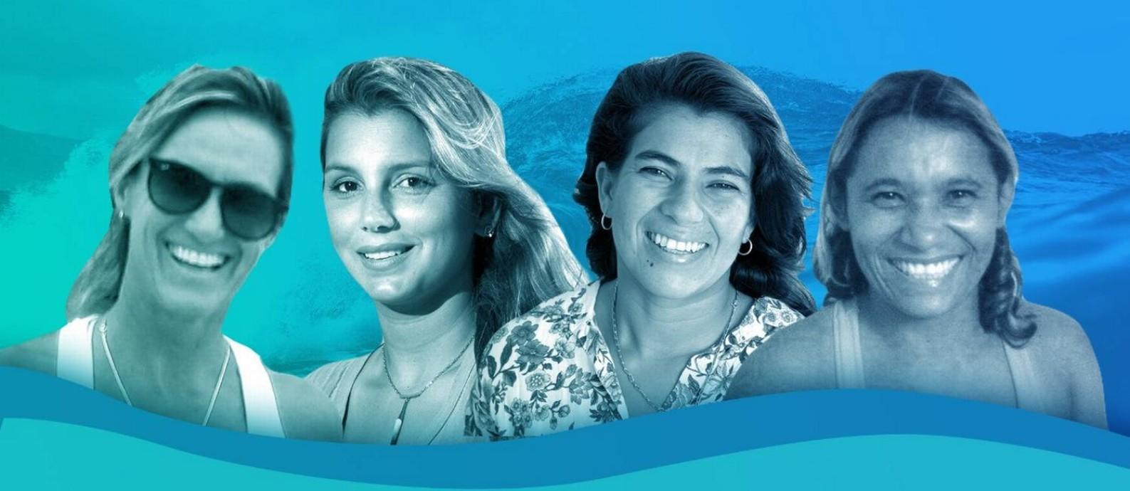 Andréa Lopes, Maya Gabeira, Silvana Lima e Tita Tavares entre as maiores surfistas do Brasil Foto: Arte O Globo