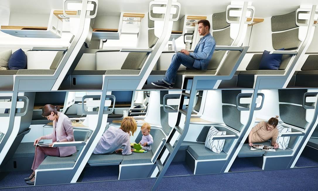 A cabine de dois andares projetada pela empresa Zephyr Aerospace Foto: Divulgação