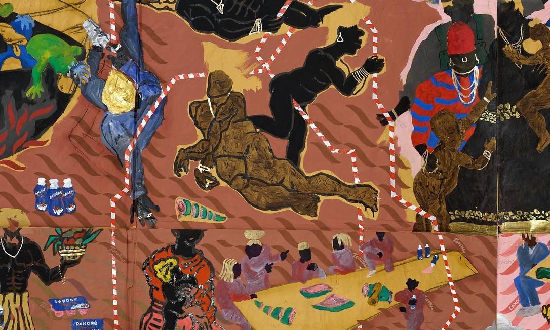 """""""Não foi pedindo licença que chegamos até aqui"""", uma das pinturas de grande dimensão do artista na exposição do MAR Foto: Divulgação"""