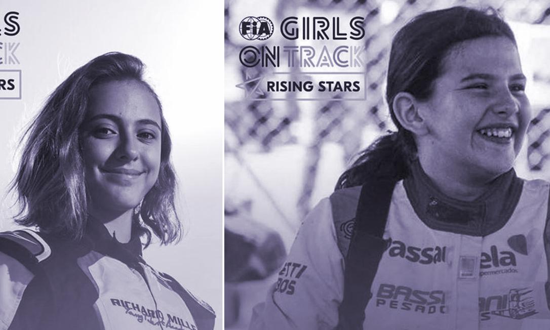 Julia Ayoub, de 15 anos, e Antonella Bassani, de 14, estão entre as 20 selecionadas para participar de programa 'FIA Girls On Track - Rising Stars', que busca talentos femininos no automobilismo Foto: Reprodução