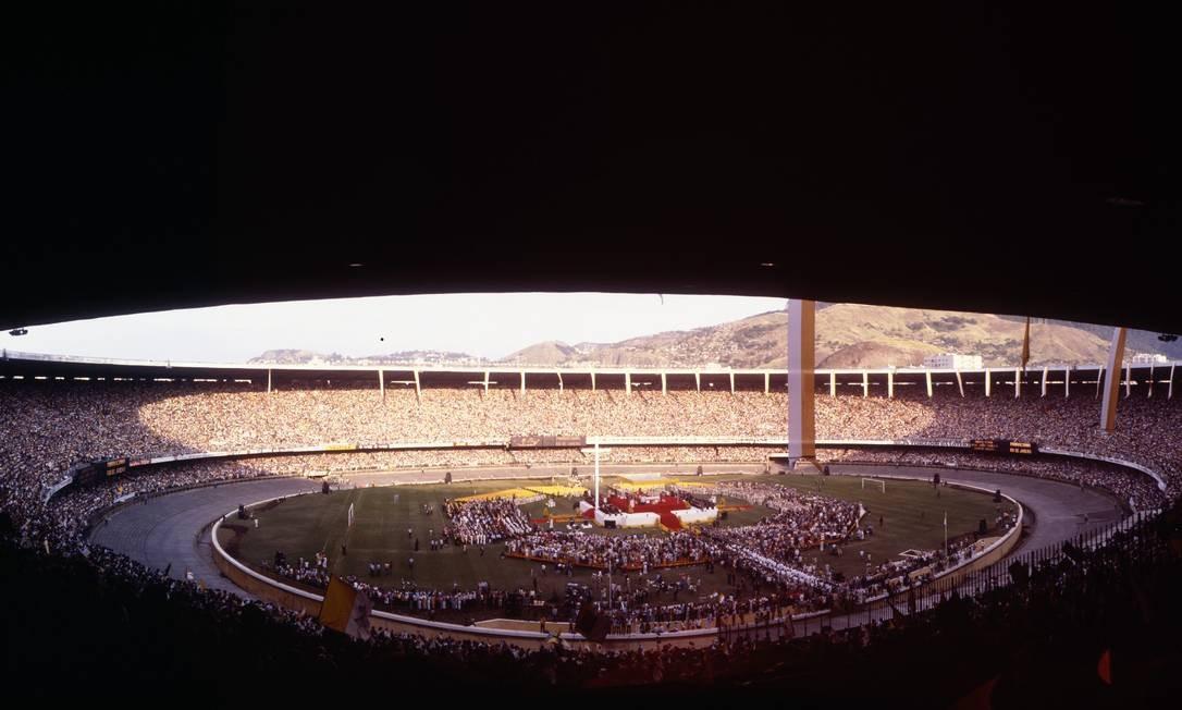 Estádio do Maracanã lotado para missa celebrada pelo Papa Foto: José Brederodes / Agência O Globo