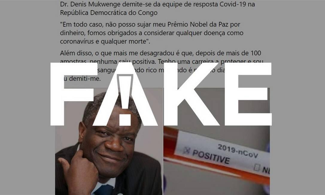 É #FAKE que médico congolês Prêmio Nobel da Paz disse que deixou cargo por ser obrigado a falsear dados da Covid-19 Foto: Reprodução