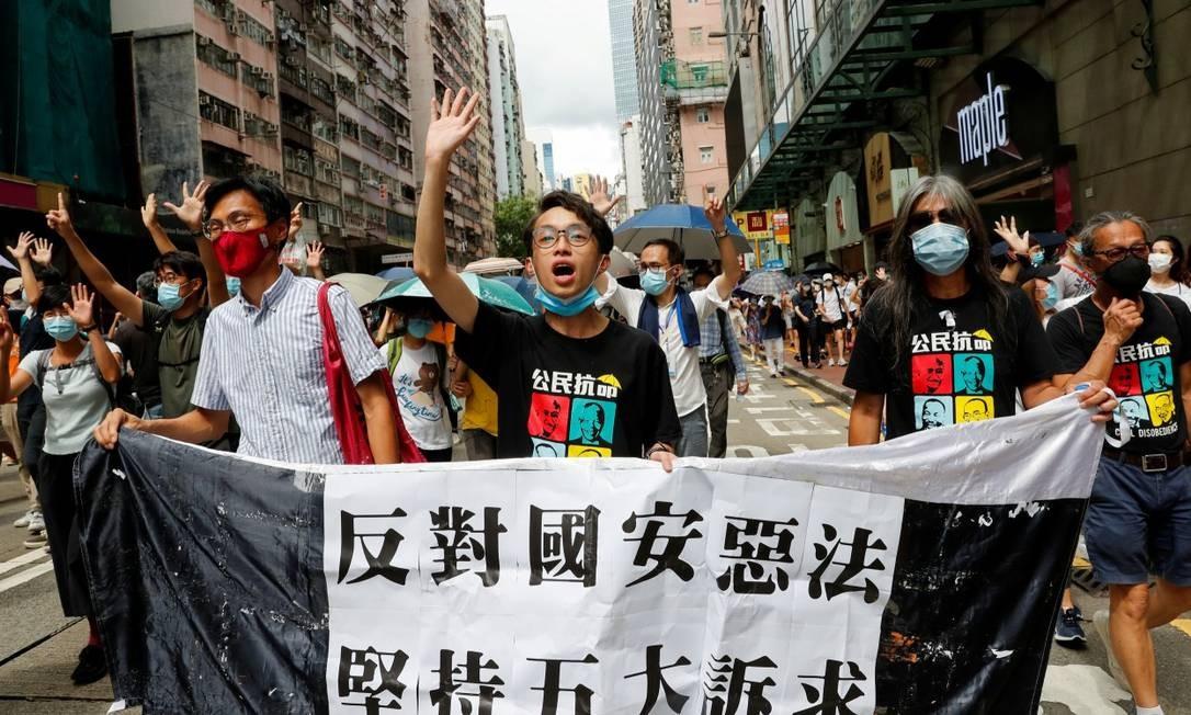 Em Hong Kong, manifestantes protestam contra lei de segurança Foto: TYRONE SIU / REUTERS / 1-7-2020