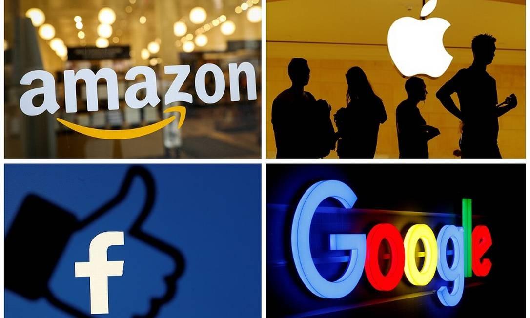 Logotipos de Amazon, Apple, Facebook e Google: Europa vai apertar o cerco contra gigantes americanas. Foto: REUTERS FILE PHOTO / REUTERS