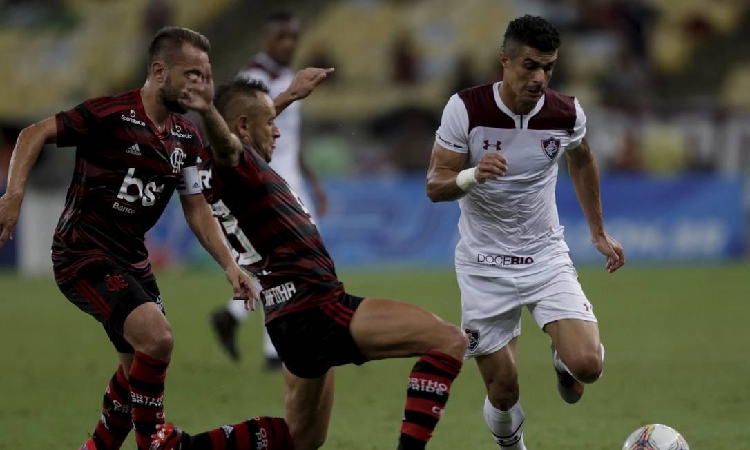 Flamengo e Fluminense somam uma vitória cada nos clássicos entre entre eles na temporada 2020 Foto: Marcelo Theobald / Agência O Globo