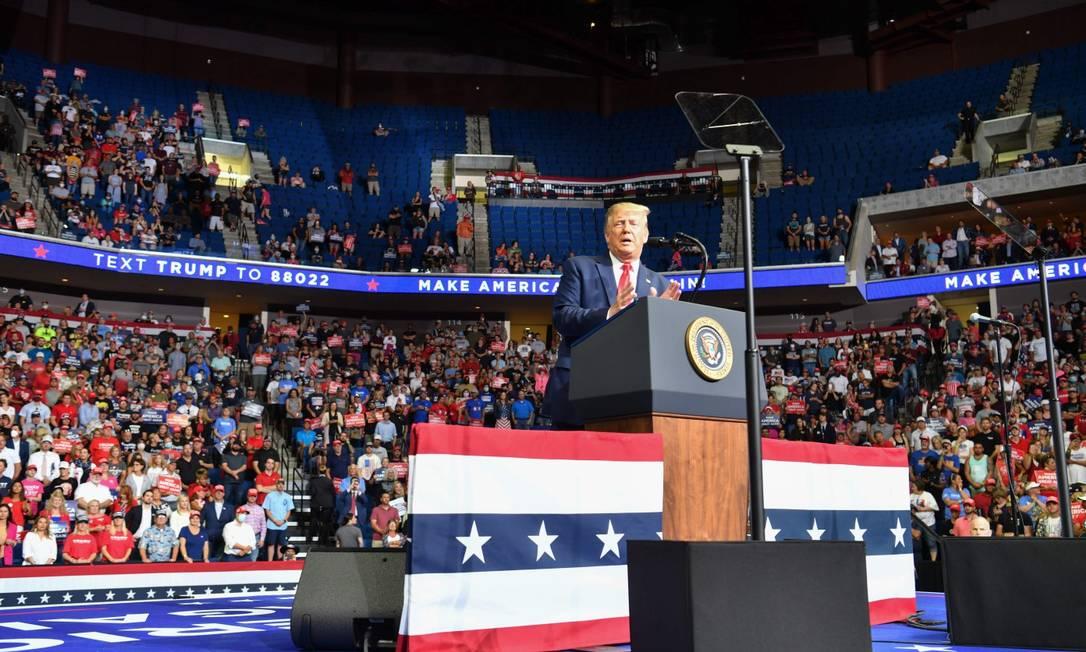 Presidente dos Estados Unidos, Donald Trump, durante discurso em Tulsa Foto: NICHOLAS KAMM / AFP / 20-6-2020