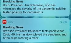 Alertas de meios de comunicação sobre o anúncio de Bolsonaro Foto: .