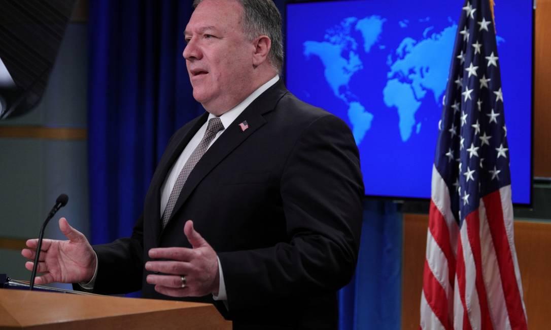 Secretário de Estados dos EUA, Mike Pompeo, durante entrevista coletiva no Departamento de Estado Foto: TOM BRENNER / REUTERS