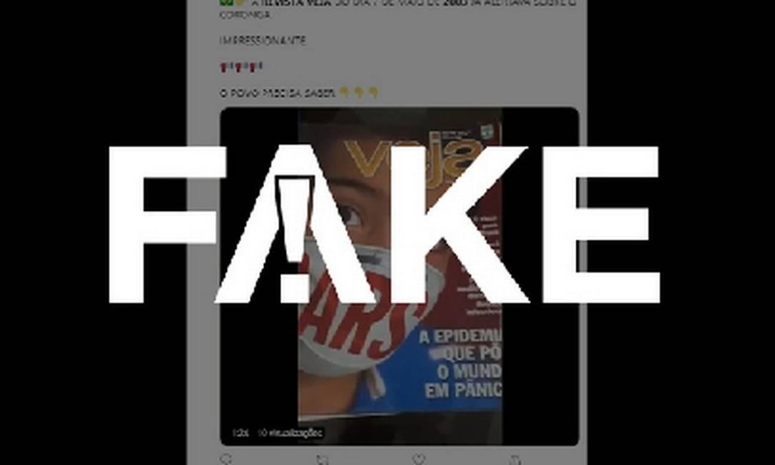 É #FAKE que edição da revista 'Veja' de 2003 já falasse da Covid-19 Foto: Reprodução