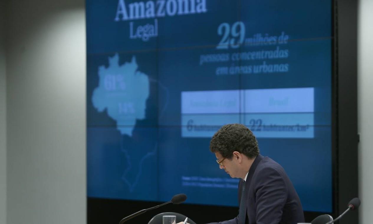Ricardo Salles fala sobre desmatamento da Amazônia à Comissão de Meio Ambiente Foto: Jorge William / Agência O Globo