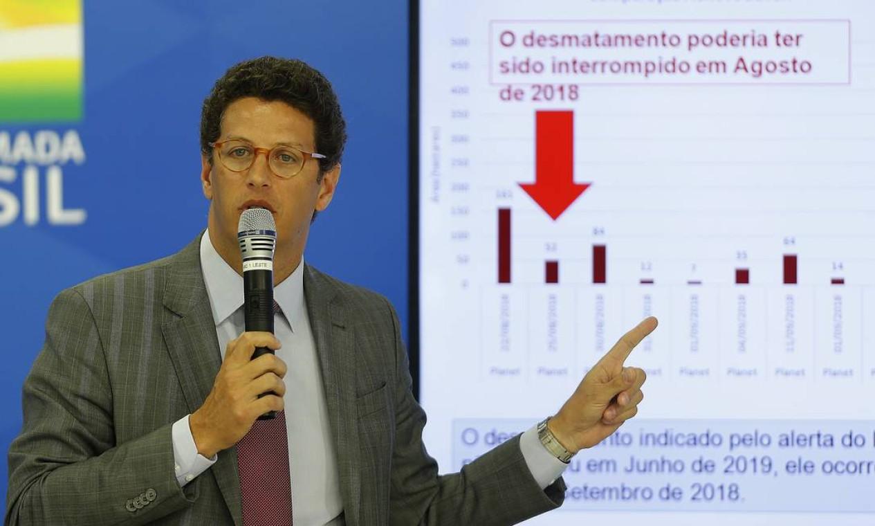 Ricardo Salles durante coletiva sobre os dados do desmatamento na Amazônia Foto: Jorge William / Agência O Globo