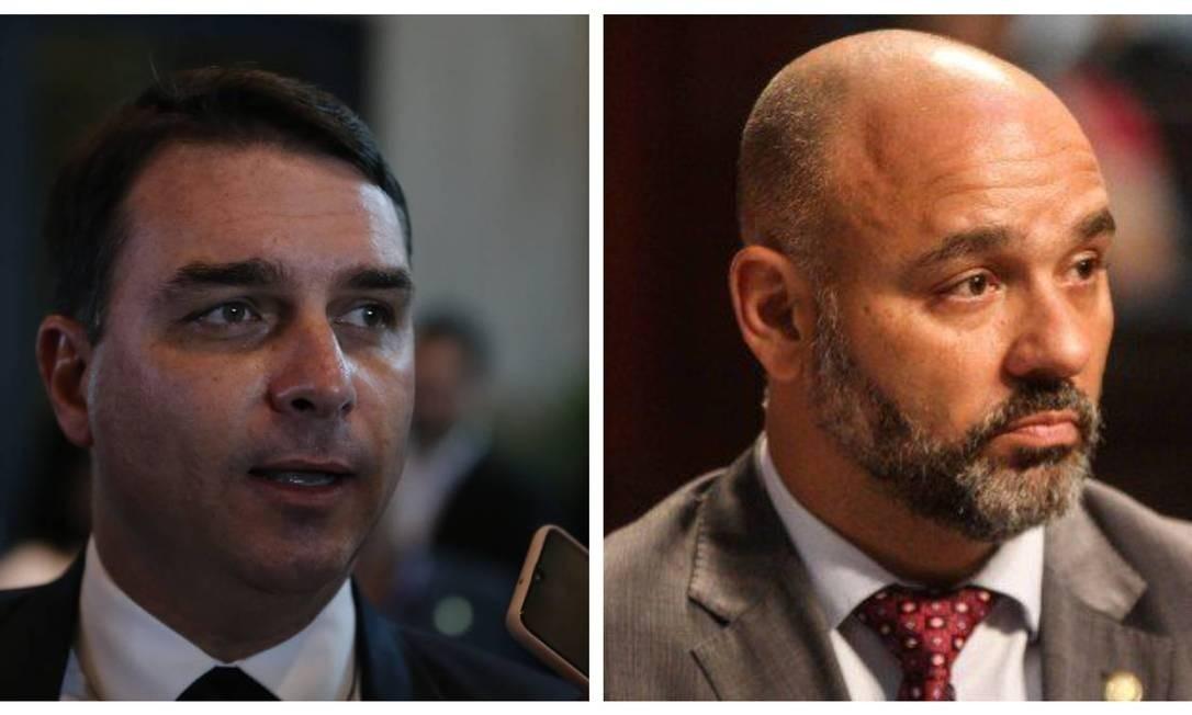 Flávio Bolsonaro e Márcio Pacheco Foto: Agência O Globo/Divulgação