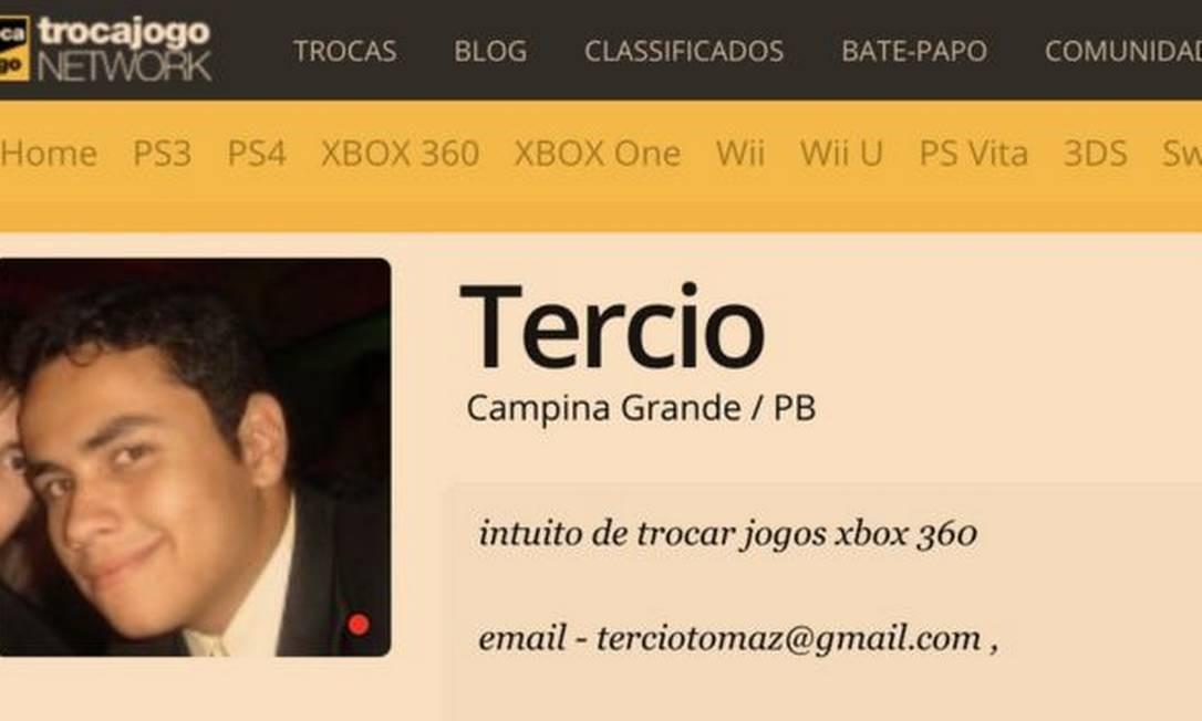 Perfil de Tercio em site de videogame mostra mesmo e-mail usado em perfil de Instagram Bolsonaro Newsss Foto: Reprodução