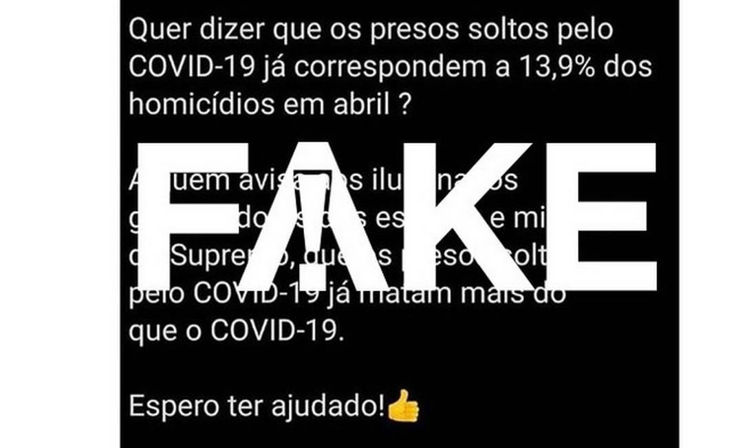 É #FAKE que presos liberados da cadeia por conta da pandemia de Covid-19 cometeram 13,9% dos homicídios do país no mês de abril Foto: Reprodução
