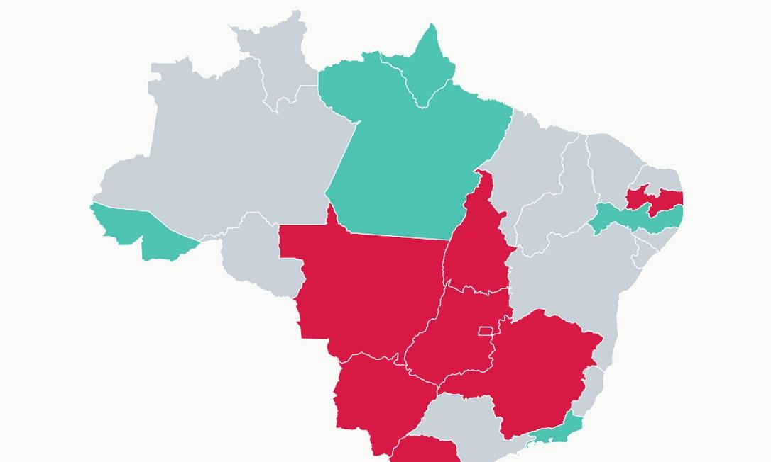 Mapa mostra variação quinzenal da media de mortes por Covid-19 no país em 10 de julho de 2020 Foto: Criação/O Globo