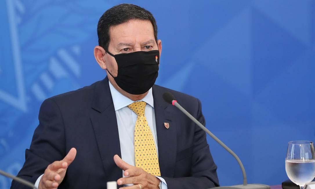 O vice-presidente Hamilton Mourão, durante entrevista coletiva Foto: Marcos Correa - Editor JN / Marcos Correa/Presidência/09-07-2020