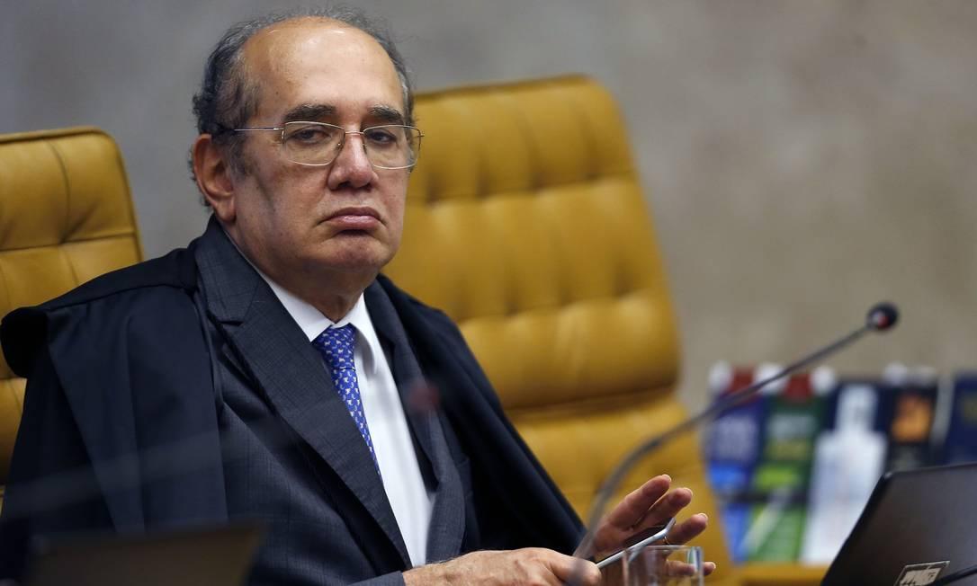 O ministro Gilmar Mendes, durante sessão do STF Foto: Jorge William/Agência O Globo/27-11-2019