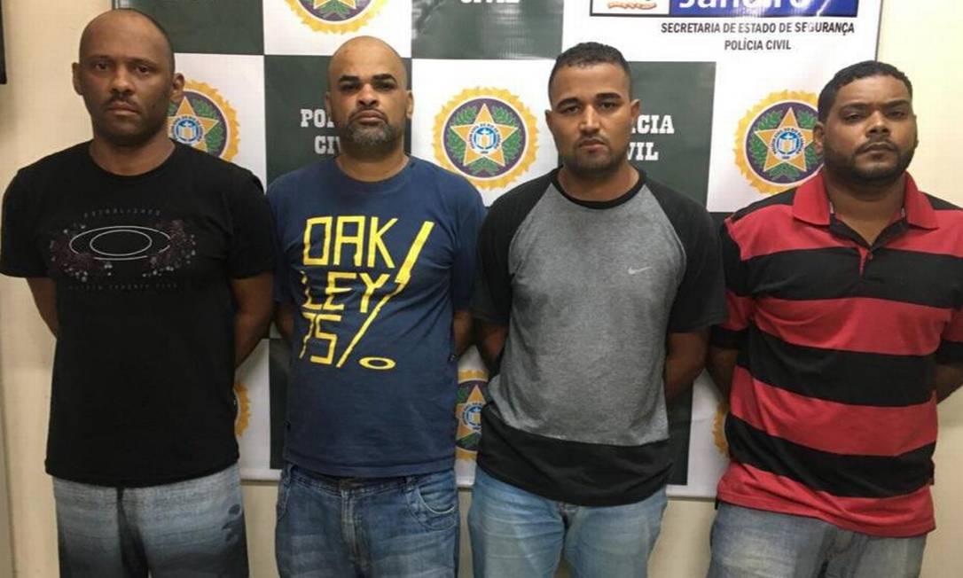 Os homens presos por policiais da delegacia de Nilópolis Foto: Reprodução