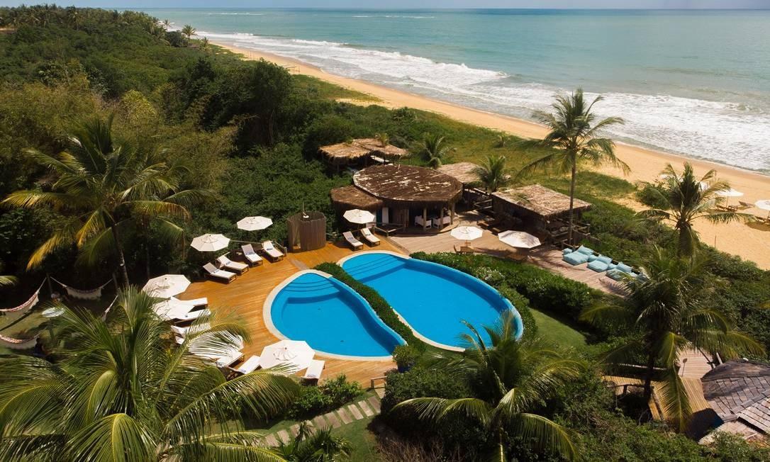 As piscinas da Pousada Estrela D'Água, em frente à Praia dos Nativos, em Trancoso, distrito de Porto Seguro Foto: Divulgação