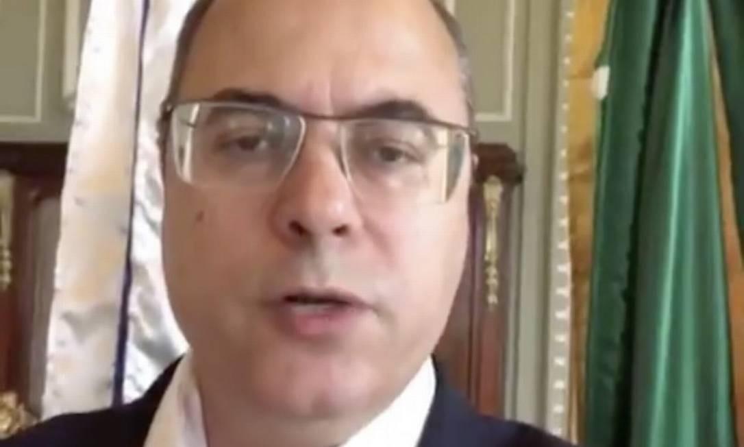 Governador do Rio, Wilson Witzel, defendeu-se em vídeo publicado nas redes sociais Foto: Reprodução/Twitter
