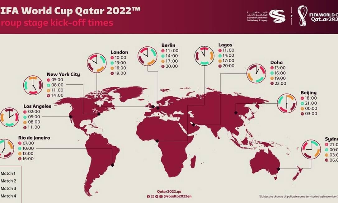 Horários previstos da Copa do Mundo do Qatar Foto: Divulgação/Comitê Organizador Catar 2022