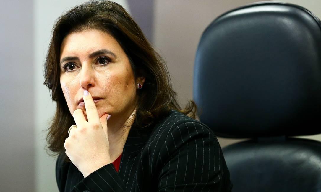 A senadora Simone Tebet durante sessão da CCJ do Senado Foto: Marcelo Camargo / Agência O Globo