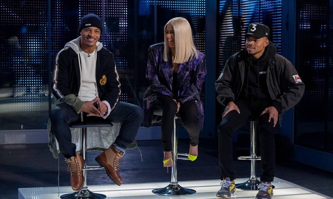 Os jurados Tip Harris, Cardi B e Chance The Rapper Foto: Adam Rose / Divulgação/Netflix