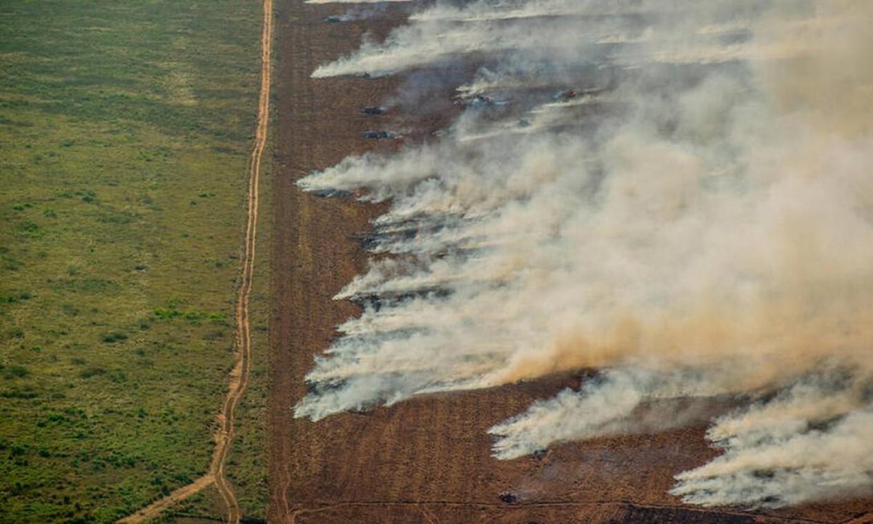 Focos de calor próximos a área com registro de desmatamento Prodes, em Nova Maringá (MT) Foto: Christian Braga/Greenpeace/Divulgação / Christian Braga/Greenpeace/Divulgação
