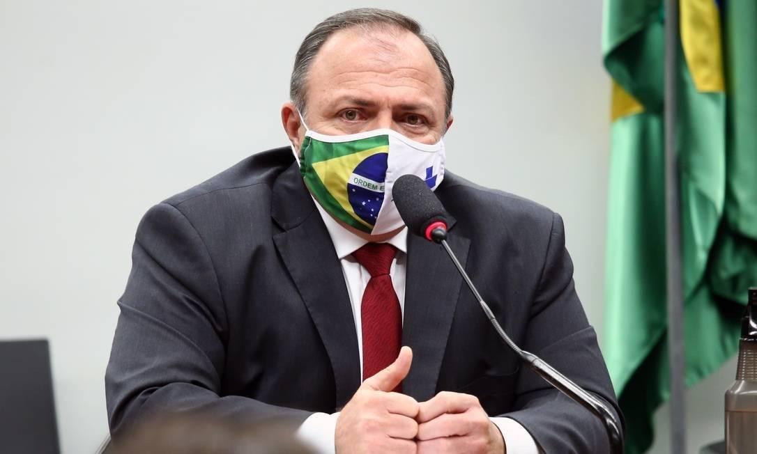 O ministro interino da Saúde, general Eduardo Pazuello Foto: Najara Araujo/Câmara dos Deputados