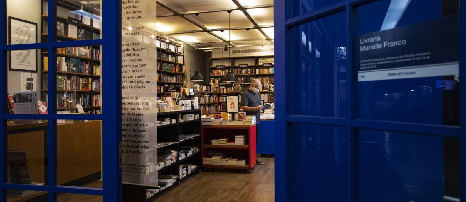 Entrada da Livraria Leonardo Da Vinci, no Centro do Rio Foto: Ana Branco / Agência O Globo
