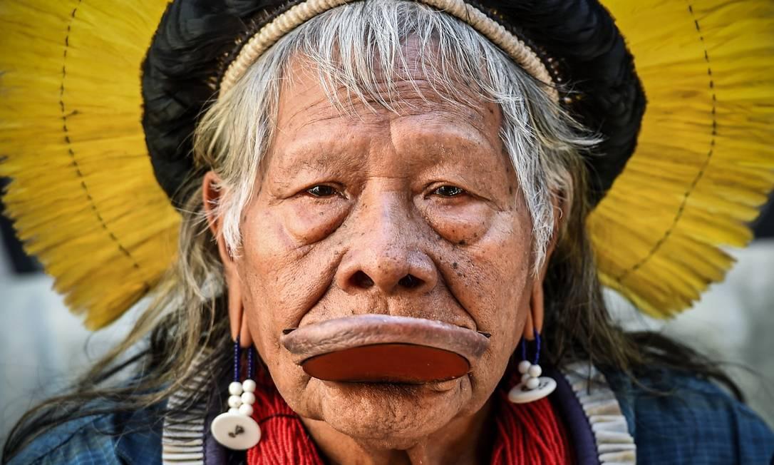 O líder indígena Cacique Raoni Foto: CARL DE SOUZA/AFP