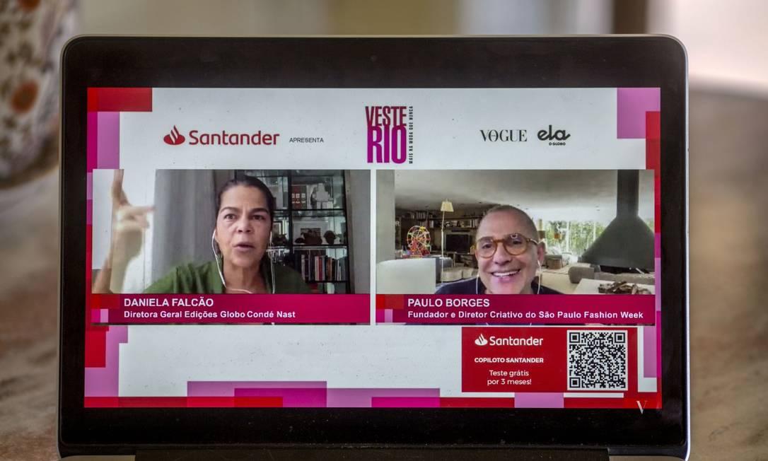 Abertura da nona edicao do Veste Rio, em formato digital: Daniela Falcão e Paulo Borges Foto: Daniel Ramalho/Agência O Globo