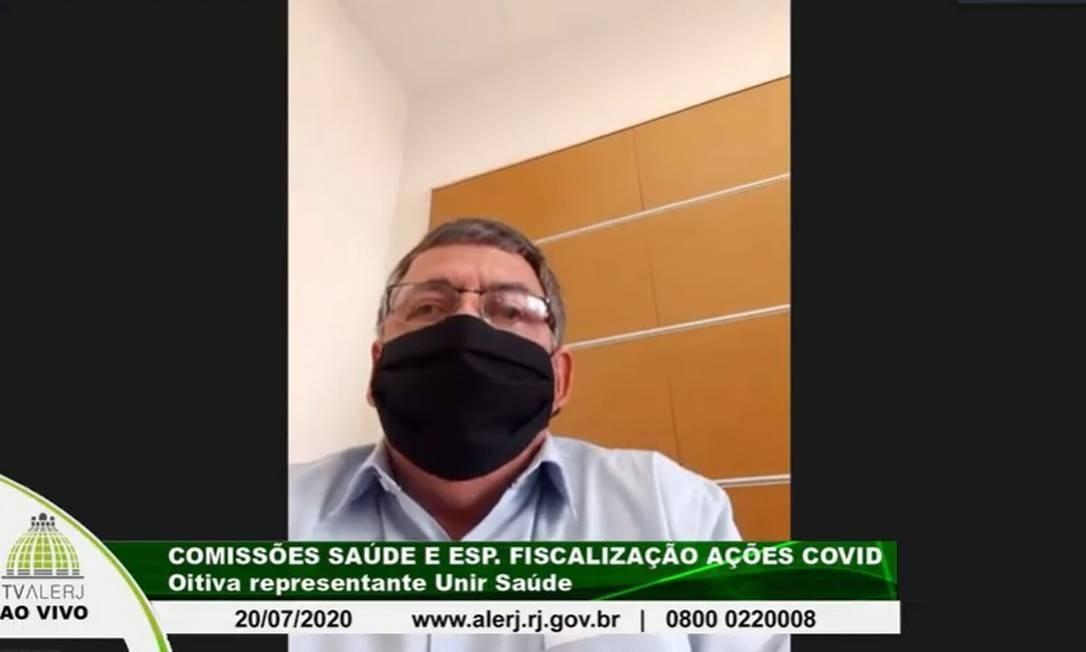 Marcus Velhote em audiência virtual da Comissão de Saúde e de Acompanhamento da Covid da Alerj Foto: Reprodução