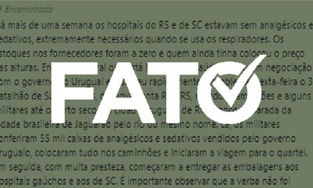 É #FATO que Exército levou remédios para internados com Covid no RS e SC Foto: Reprodução