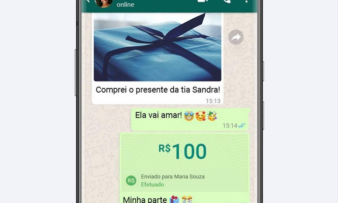 O WhatsApp pretende tornar a transferência de dinheiro tão simples como o compartilhamento de uma foto Foto: Divulgação