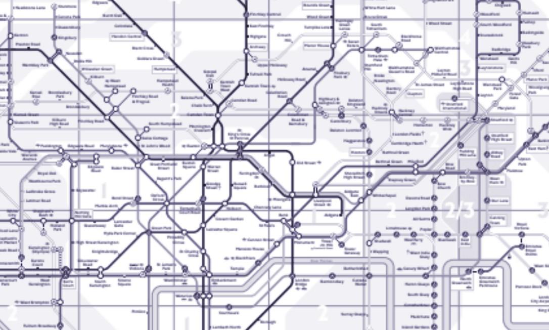 Mapa do metrô de Londres Foto: Reprodução