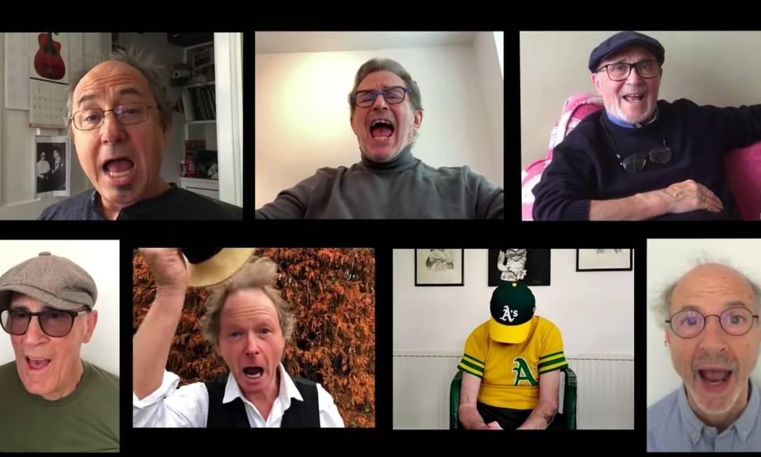 """Os integrantes do Gentle Giant, em 2020, no vídeo de """"Proclamation"""" feito por fãs das banda Foto: Reprodução da internet"""