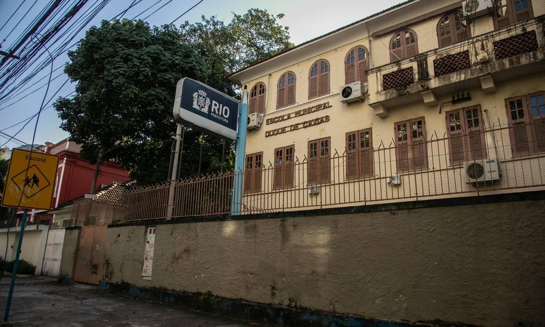 Escola Municipal Duque de Caxias, no Grajaú, é uma das unidades fechadas na pandemia Foto: Brenno Carvalho / Agência O Globo